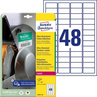 Avery Zweckform No. L7911-10 lézeres 45,7 x 21,2 mm méretű, fehér ultra ellenálló öntapadó etikett címke, tartós ragasztóval A4-es íven - 480 címke / csomag - 10 ív / csomag (Avery L7911-10)