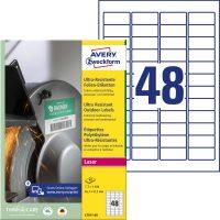 Avery Zweckform No. L7911-40 lézeres 45,7 x 21,2 mm méretű, fehér ultra ellenálló öntapadó etikett címke, tartós ragasztóval A4-es íven - 1920 címke / csomag - 40 ív / csomag (Avery L7911-40)