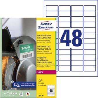 Avery Zweckform L7911-40 nyomtatható öntapadós ultra ellenálló etikett címke