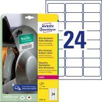 Avery Zweckform No. L7912-10 lézeres 63,5 x 33,9 mm méretű, fehér ultra ellenálló öntapadó etikett címke, tartós ragasztóval A4-es íven - 240 címke / csomag - 10 ív / csomag (Avery L7912-10)