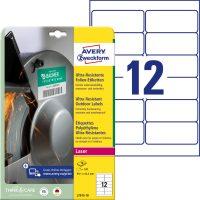 Avery Zweckform No. L7913-10 lézeres 99,1 x 42,3 mm méretű, fehér ultra ellenálló öntapadó etikett címke, tartós ragasztóval A4-es íven - 120 címke / csomag - 10 ív / csomag (Avery L7913-10)