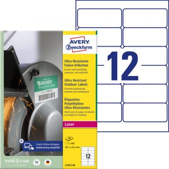 Avery Zweckform L7913-40 nyomtatható öntapadós ultra ellenálló etikett címke