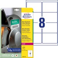 Avery Zweckform No. L7914-10 lézeres 99,1 x 67,7 mm méretű, fehér ultra ellenálló öntapadó etikett címke, tartós ragasztóval A4-es íven - 80 címke / csomag - 10 ív / csomag (Avery L7914-10)