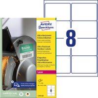 Avery Zweckform No. L7914-40 lézeres 99,1 x 67,7 mm méretű, fehér ultra ellenálló öntapadó etikett címke, tartós ragasztóval A4-es íven - 320 címke / csomag - 40 ív / csomag (Avery L7914-40)