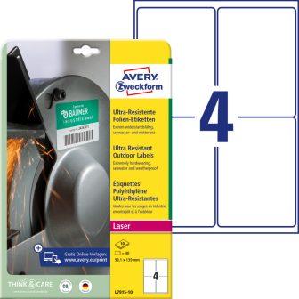 Avery Zweckform No. L7915-10 lézeres 99,1 x 139 mm méretű, fehér ultra ellenálló öntapadó etikett címke, tartós ragasztóval A4-es íven - 40 címke / csomag - 10 ív / csomag (Avery L7915-10)