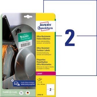 Avery Zweckform No. L7916-10 lézeres 210 x 148 mm méretű, fehér ultra ellenálló öntapadó etikett címke, tartós ragasztóval A4-es íven - 20 címke / csomag - 10 ív / csomag (Avery L7916-10)