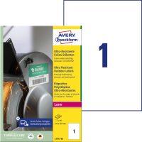 Avery Zweckform No. L7917-40 lézeres 210 x 297 mm méretű, fehér ultra ellenálló öntapadó etikett címke, tartós ragasztóval A4-es íven - 40 címke / csomag - 40 ív / csomag (Avery L7917-40)