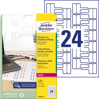 Avery Zweckform L7950-20 nyomtatható öntapadós időjárásálló kábeljelölő címke