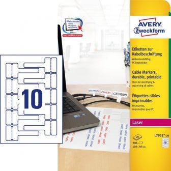 Avery Zweckform L7951-20 nyomtatható öntapadós időjárásálló kábeljelölő címke