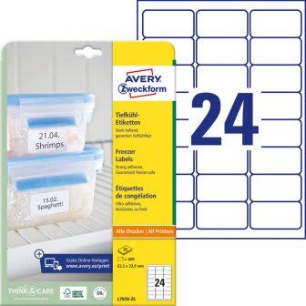Avery Zweckform No. L7970-25 univerzális 63,5 x 33,9 mm méretű, fehér öntapadó etikett címke fagyasztott termékek jelölésére A4-es íven - 600 címke / csomag - 25 ív / csomag (Avery L7970-25)