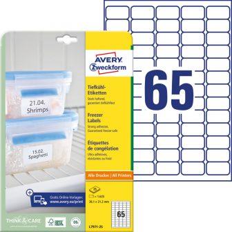 Avery Zweckform No. L7971-25 univerzális 38,1 x 21,2 mm méretű, fehér öntapadó etikett címke fagyasztott termékek jelölésére A4-es íven - 1625 címke / csomag - 25 ív / csomag (Avery L7971-25)