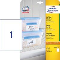 Avery Zweckform No. L7972-25 univerzális 210 x 297 mm méretű, fehér öntapadó etikett címke fagyasztott termékek jelölésére A4-es íven - 25 címke / csomag - 25 ív / csomag (Avery L7972-25)
