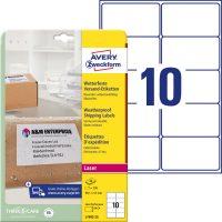Avery Zweckform No. L7992-25 lézeres 99,1 x 57 mm méretű, fehér öntapadó időjárásálló etikett címke A4-es íven - 250 címke / csomag - 25 ív / csomag (Avery L7992-25)