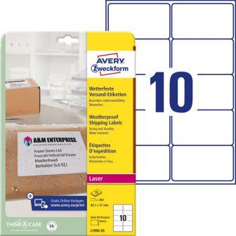 Avery Zweckform L7992-25 nyomtatható öntapadós időjárásálló csomag címke