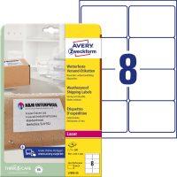 Avery Zweckform No. L7993-25 lézeres 99,1 x 67,7 mm méretű, fehér öntapadó időjárásálló etikett címke A4-es íven - 200 címke / csomag - 25 ív / csomag (Avery L7993-25)