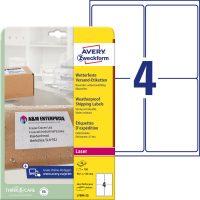 Avery Zweckform No. L7994-25 lézeres 99,1 x 139 mm méretű, fehér öntapadó időjárásálló etikett címke A4-es íven - 100 címke / csomag - 25 ív / csomag (Avery L7994-25)
