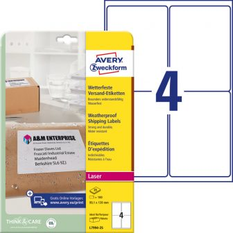 Avery Zweckform L7994-25 nyomtatható öntapadós időjárásálló csomag címke