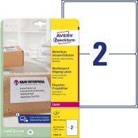 Avery Zweckform No. L7996-25 lézeres 199,6 x 143,5 mm méretű, fehér öntapadó időjárásálló etikett címke A4-es íven - 50 címke / csomag - 25 ív / csomag (Avery L7996-25)