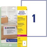 Avery Zweckform No. L7997-25 lézeres 199,6 x 289,1 mm méretű, fehér öntapadó időjárásálló etikett címke A4-es íven - 25 címke / csomag - 25 ív / csomag (Avery L7997-25)