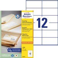 Avery Zweckform No. LR3424 univerzális, környezetbarát 105 x 48 mm méretű, natúr fehér öntapadó etikett címke A4-es íven - 1200 címke / doboz - 100 ív / doboz (Avery LR3424)