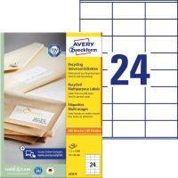 Avery Zweckform No. LR3475 univerzális, környezetbarát 70 x 36 mm méretű, natúr fehér öntapadó etikett címke A4-es íven - 2400 címke / doboz - 100 ív / doboz (Avery LR3475)