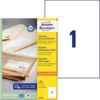 Avery Zweckform No. LR3478 univerzális, környezetbarát 210 x 297 mm méretű, natúr fehér öntapadó etikett címke A4-es íven - 100 címke / doboz - 100 ív / doboz (Avery LR3478)