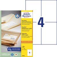 Avery Zweckform No. LR3483 univerzális, környezetbarát 105 x 148 mm méretű, natúr fehér öntapadó etikett címke A4-es íven - 400 címke / doboz - 100 ív / doboz (Avery LR3483)