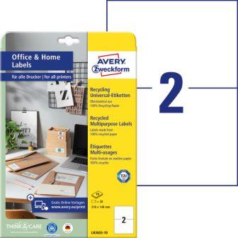 Avery Zweckform LR3655-10 nyomtatható környezetbarát öntapadós etikett címke