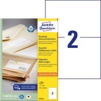 Avery Zweckform No. LR3655 univerzális, környezetbarát 210 x 148 mm méretű, natúr fehér öntapadó etikett címke A4-es íven - 200 címke / doboz - 100 ív / doboz (Avery LR3655)