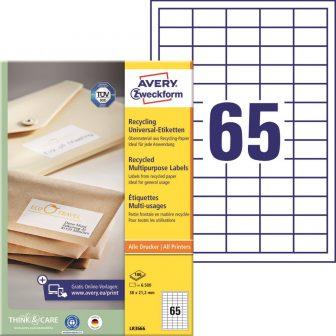 Avery Zweckform No. LR3666 univerzális, környezetbarát 38,1 x 21,2 mm méretű, natúr fehér öntapadó etikett címke A4-es íven - 6500 címke / doboz - 100 ív / doboz (Avery LR3666)