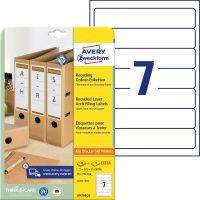 Avery Zweckform No. LR4760-25 univerzális, környezetbarát 38 x 192 mm méretű, natúr fehér öntapadó iratrendező címke A4-es íven - 175 címke / csomag - 25 ív / csomag (Avery LR4760-25)