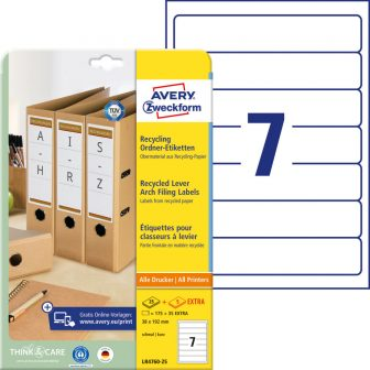 Avery Zweckform LR4760-25 nyomtatható környezetbarát öntapadós iratrendező címke