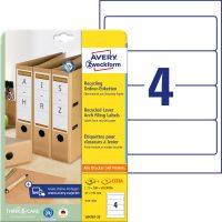 Avery Zweckform No. LR4761-25 univerzális, környezetbarát 61 x 192 mm méretű, natúr fehér öntapadó iratrendező címke A4-es íven - 100 címke / csomag - 25 ív / csomag (Avery LR4761-25)
