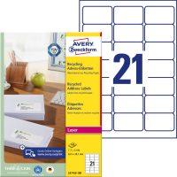 Avery Zweckform No. LR7160-100 lézeres, környezetbarát 63,5 x 38,1 mm méretű, natúr fehér öntapadó etikett címke A4-es íven - 2100 címke / doboz - 100 ív / doboz (Avery LR7160-100)
