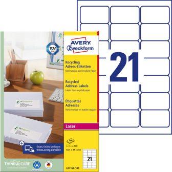 Avery Zweckform LR7160-100 nyomtatható környezetbarát öntapadós címzés címke