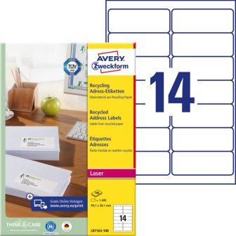 Avery Zweckform No. LR7163-100 lézeres, környezetbarát 99,1 x 38,1 mm méretű, natúr fehér öntapadó etikett címke A4-es íven - 1400 címke / doboz - 100 ív / doboz (Avery LR7163-100)
