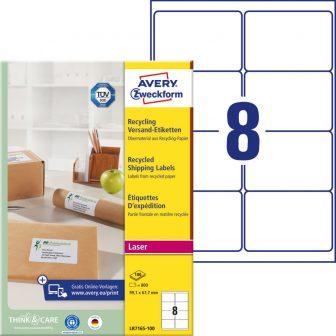 Avery Zweckform No. LR7165-100 lézeres, környezetbarát 99,1 x 67,7 mm méretű, natúr fehér öntapadó etikett címke A4-es íven - 800 címke / doboz - 100 ív / doboz (Avery LR7165-100)