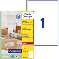 Avery Zweckform No. LR7167-100 lézeres, környezetbarát 199,6 x 289,1 mm méretű, natúr fehér öntapadó etikett címke A4-es íven - 100 címke / doboz - 100 ív / doboz (Avery LR7167-100)