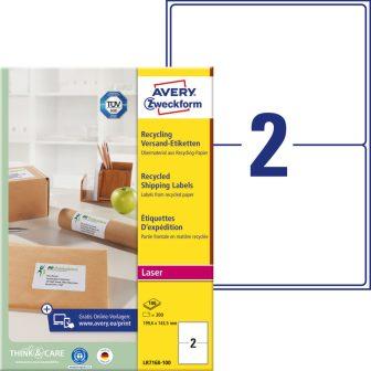 Avery Zweckform No. LR7168-100 lézeres, környezetbarát 199,6 x 143,5 mm méretű, natúr fehér öntapadó etikett címke A4-es íven - 200 címke / doboz - 100 ív / doboz (Avery LR7168-100)