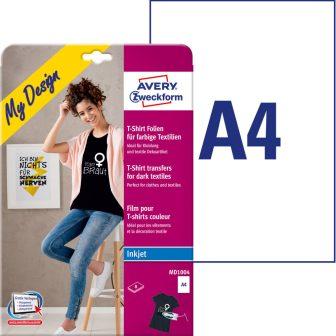 Avery Zweckform MD1004 tintasugaras nyomtatóval nyomtatható sötét pólóra vasalható fólia