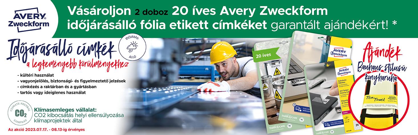 10% kedvezmény minden Avery Zweckform márkájú időjárásálló, ultra ellenálló, ezüst ipari,  és szuper tapadású nyomtatható öntapadós etikett címkére.